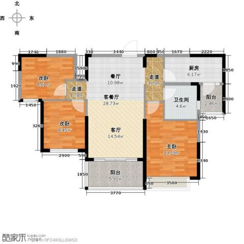 哈尔滨恒大绿洲3室2厅1卫0厨111.00㎡户型图