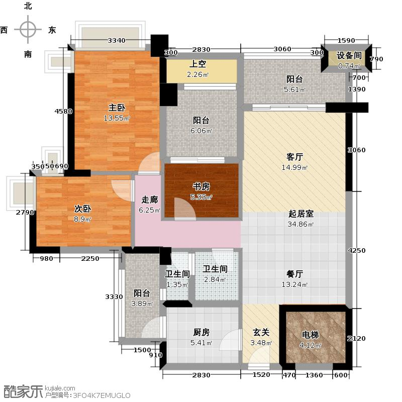 雅居乐凯茵又一城103.00㎡20栋01单位户型3室2厅1卫