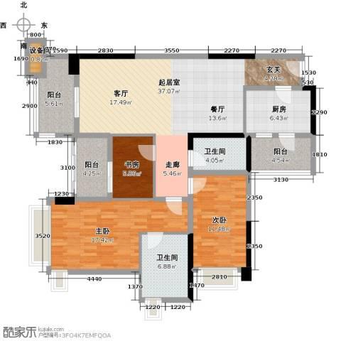 雅居乐凯茵又一城3室2厅2卫0厨113.00㎡户型图