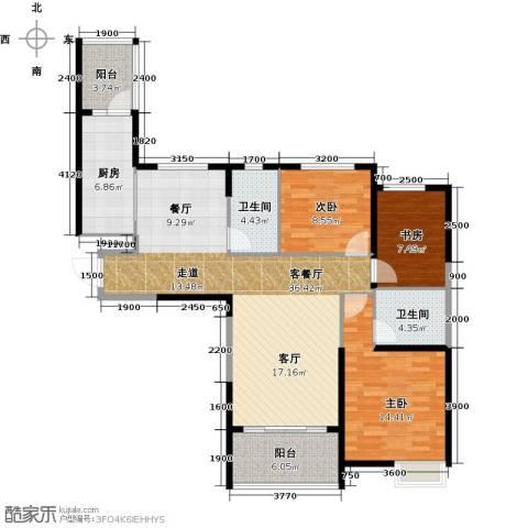 哈尔滨恒大绿洲3室2厅2卫0厨129.00㎡户型图
