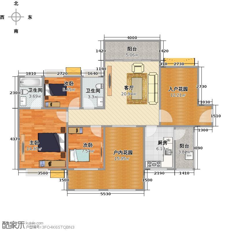 鑫月城107.30㎡户型3室2厅2卫