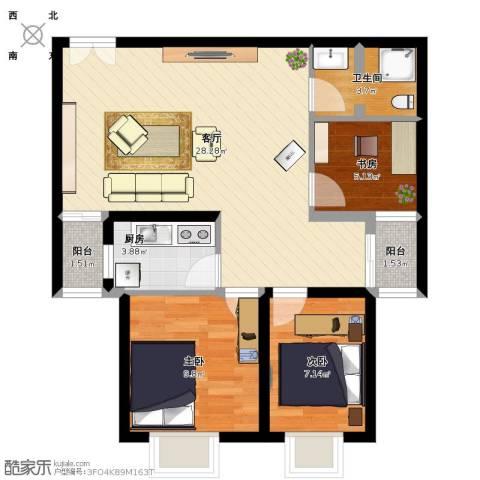 锦尚名城3室1厅1卫1厨88.00㎡户型图