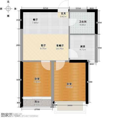 华茂中心2室2厅1卫0厨66.00㎡户型图