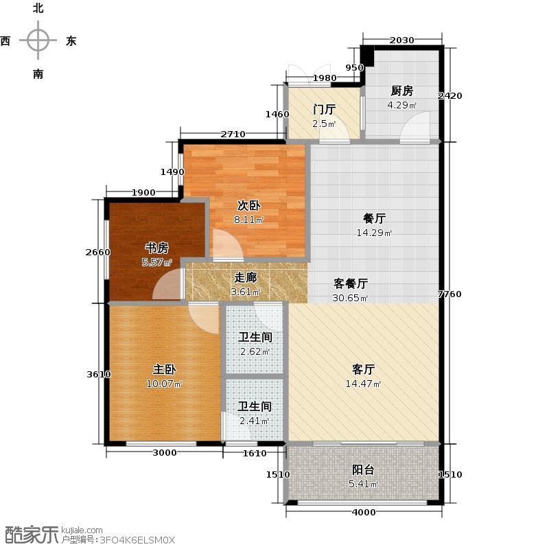 中南红领邦88.42㎡D2户型3室2厅2卫