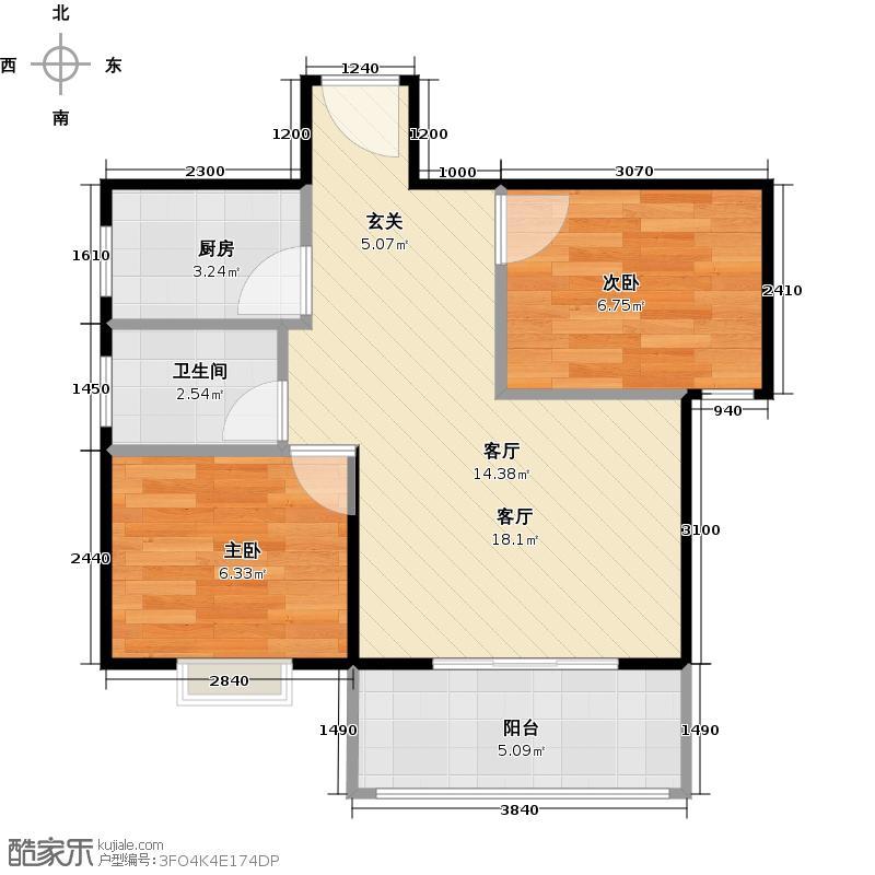 宝源花园51.60㎡三期L9号楼户型2室1厅1卫1厨