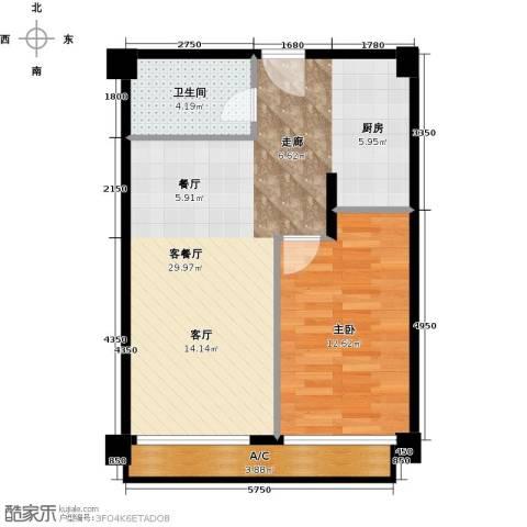 万通金府国际1室2厅1卫0厨72.00㎡户型图