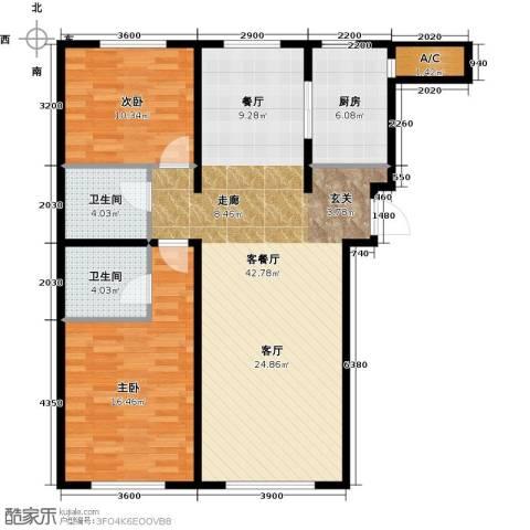 万通金府国际2室2厅2卫0厨117.00㎡户型图