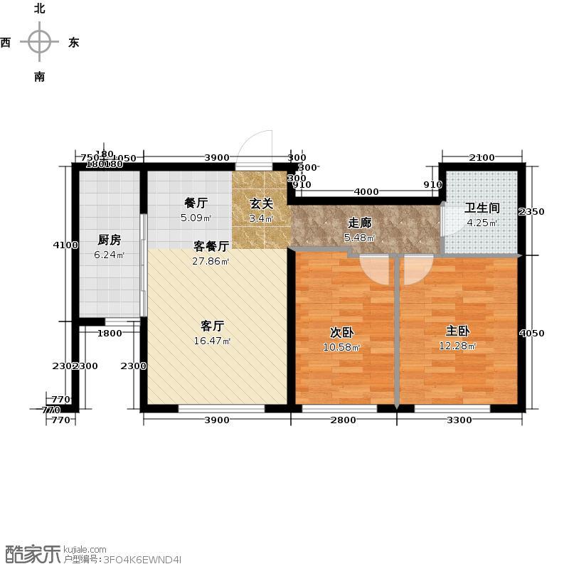 万通金府国际85.52㎡5号楼3门302--1302户型2室2厅1卫