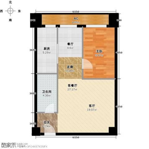 万通金府国际1室2厅1卫0厨70.00㎡户型图