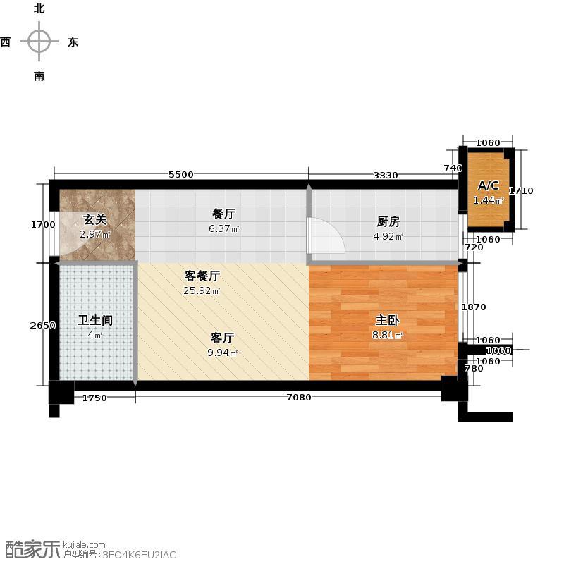 万通金府国际53.28㎡8号楼3门309-1309户型1室2厅1卫