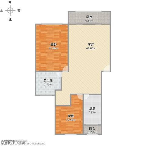 东方滨港园2室1厅1卫1厨134.00㎡户型图