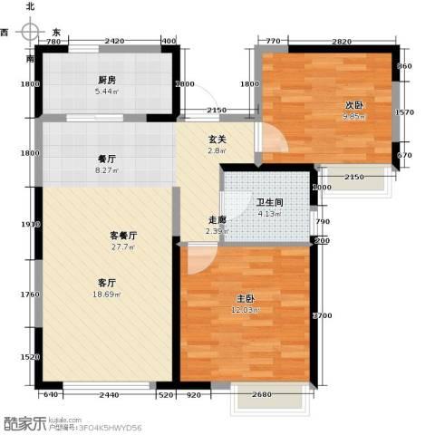 南益名士华庭2室2厅1卫0厨89.00㎡户型图
