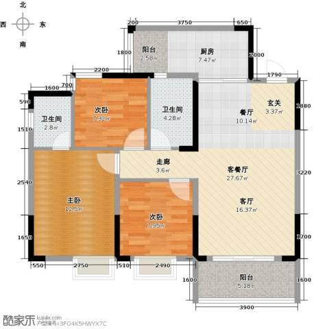恒鑫名城3室1厅2卫1厨105.00㎡户型图