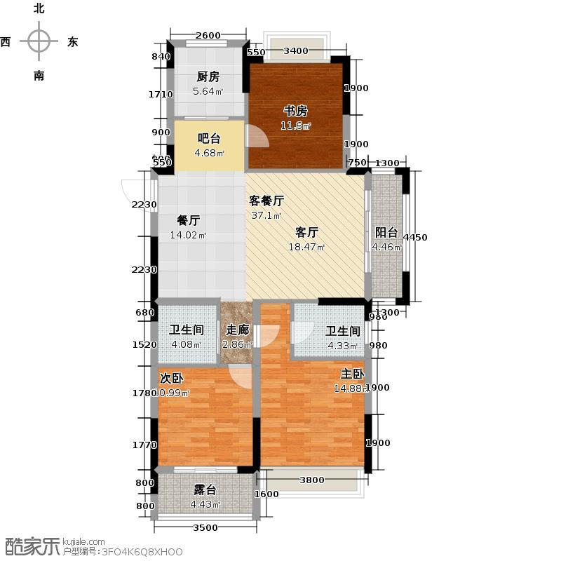 万泰城章108.00㎡D偶数层户型3室2厅2卫