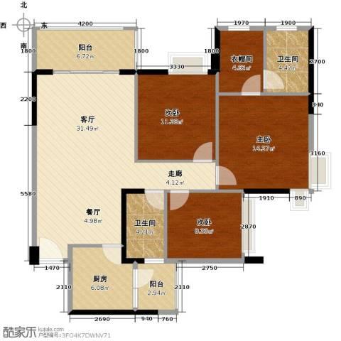 大信君汇湾3室2厅2卫0厨122.00㎡户型图