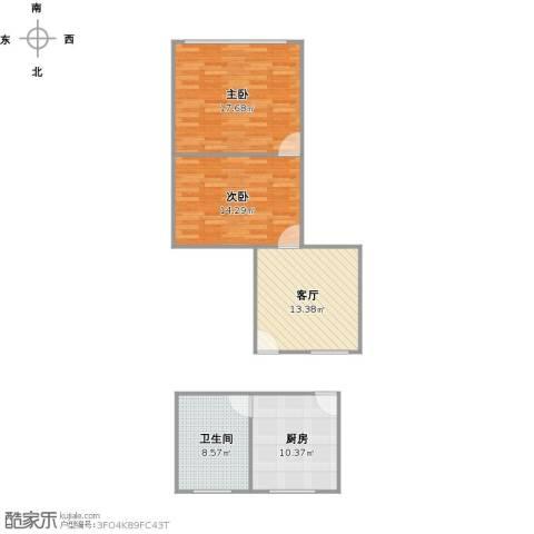 横沔江路256弄小区2室1厅1卫1厨86.00㎡户型图