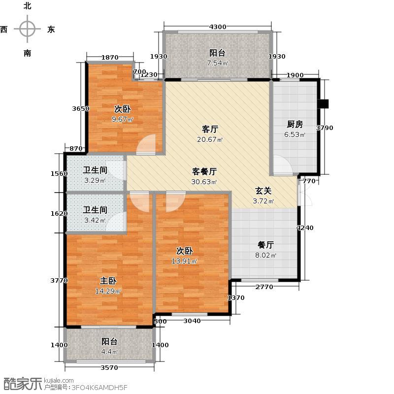 中南红领邦119.24㎡E1户型3室2厅2卫