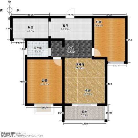 在水一方颂荷2室2厅1卫0厨95.00㎡户型图