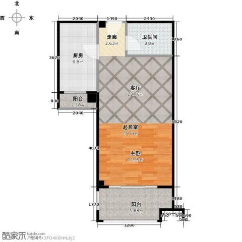 中誉南岸公馆1室1厅1卫0厨49.00㎡户型图