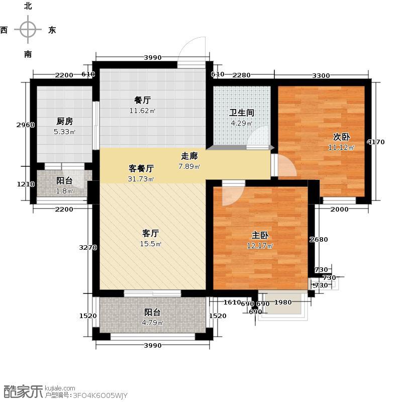 胜宏景苑95.00㎡B2户型2室2厅1卫