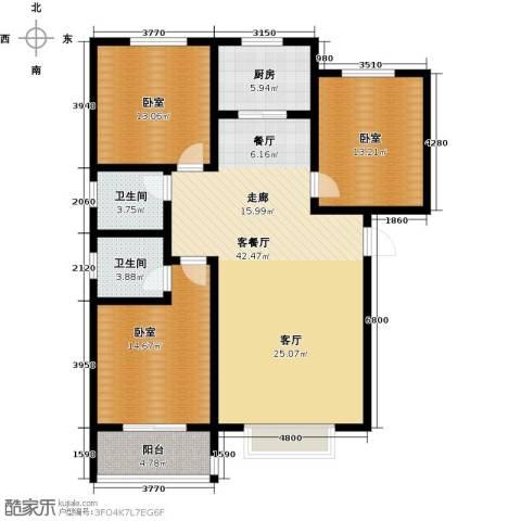 在水一方颂荷3室2厅2卫0厨145.00㎡户型图