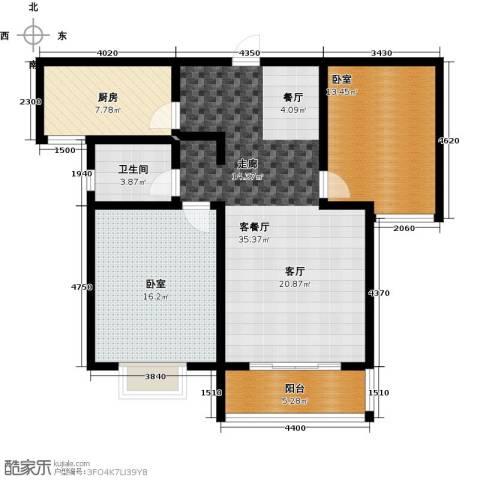 在水一方颂荷2室2厅1卫0厨117.00㎡户型图