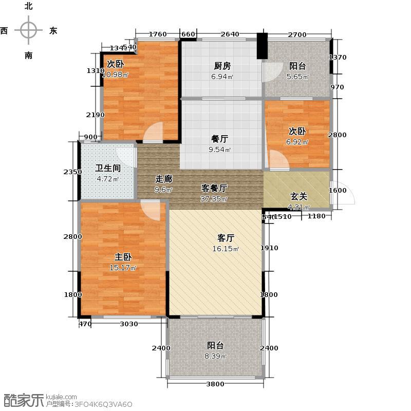 碧桂园山湖城110.00㎡01户型3室2厅1卫