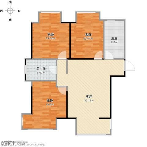 荣盛楠湖郦舍3室1厅1卫1厨115.00㎡户型图