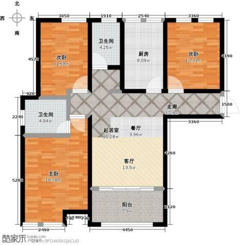 大海鑫庄国际3室1厅2卫0厨115.00㎡户型图