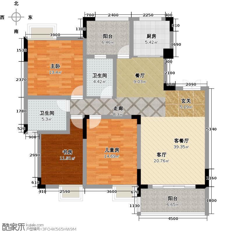 凤岭新新家园114.00㎡户型3室1厅2卫1厨
