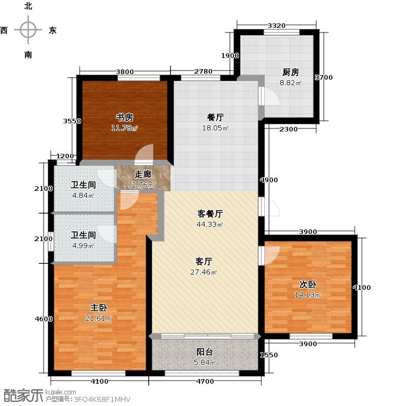 鲁商蓝岸丽舍137.00㎡高层H2户型3室2厅2卫