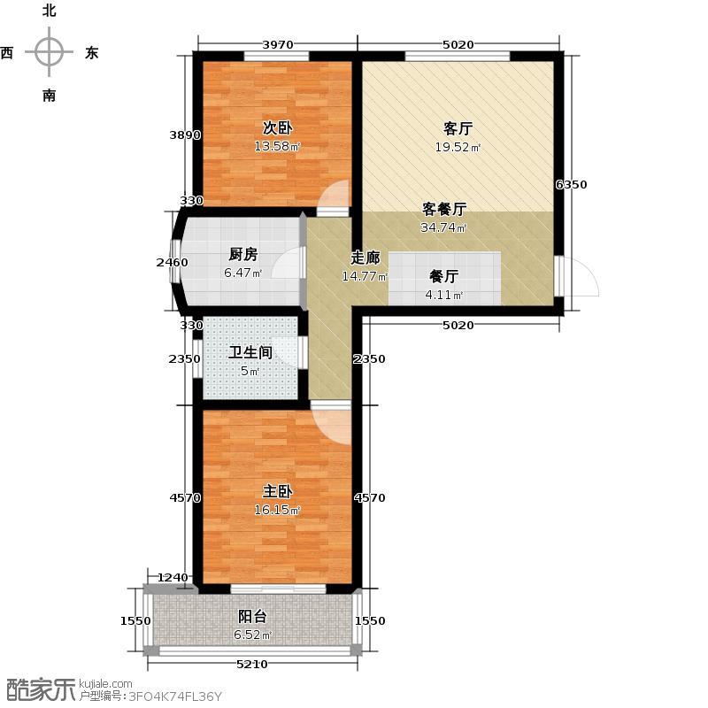 绿都皇城88.92㎡23-1户型2室2厅1卫