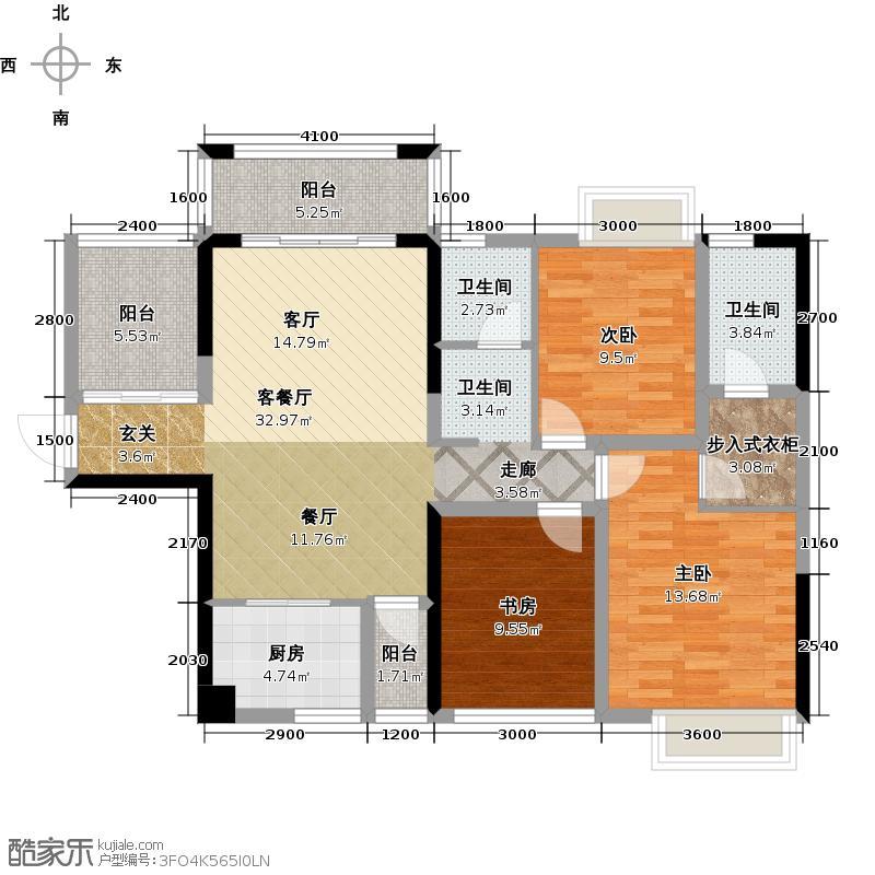 凤岭新新家园119.00㎡5#楼2户型3室1厅2卫1厨