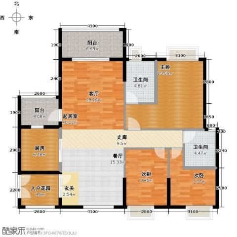 锦江国际新城3室2厅2卫0厨122.00㎡户型图