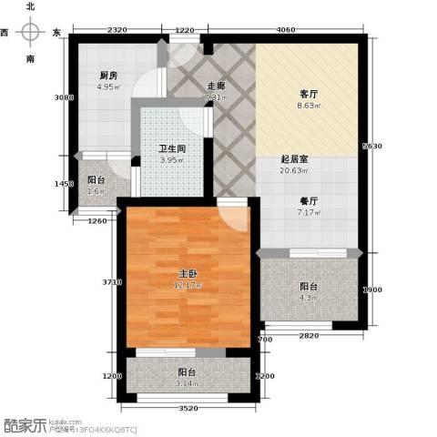 大海鑫庄国际1室2厅1卫0厨60.00㎡户型图