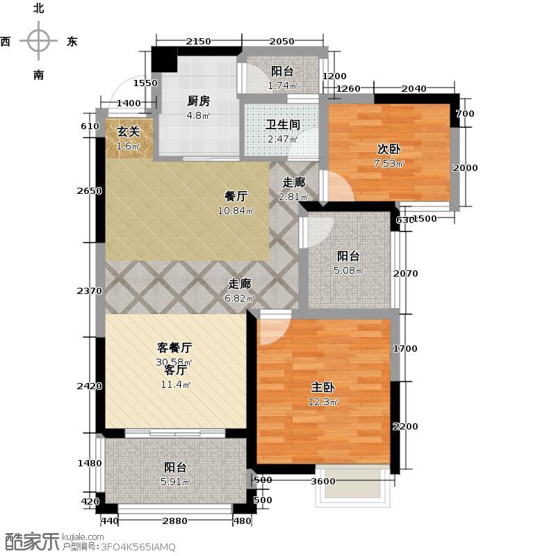 凤岭新新家园90.00㎡5#楼户型2室1厅1卫1厨