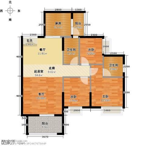 锦江国际新城3室2厅2卫0厨99.00㎡户型图