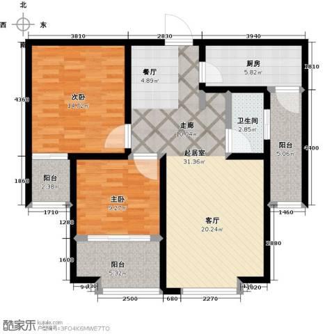 大海鑫庄国际2室2厅1卫0厨90.00㎡户型图