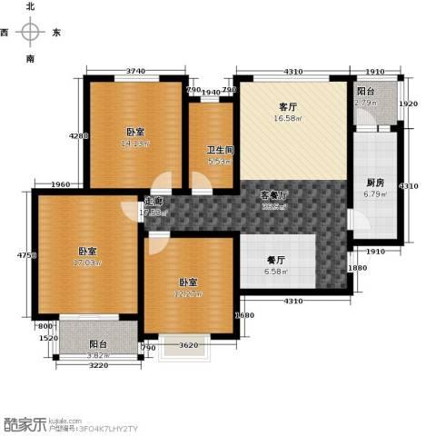 在水一方颂荷3室2厅1卫0厨142.00㎡户型图