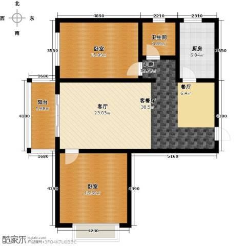 在水一方颂荷2室2厅1卫0厨123.00㎡户型图