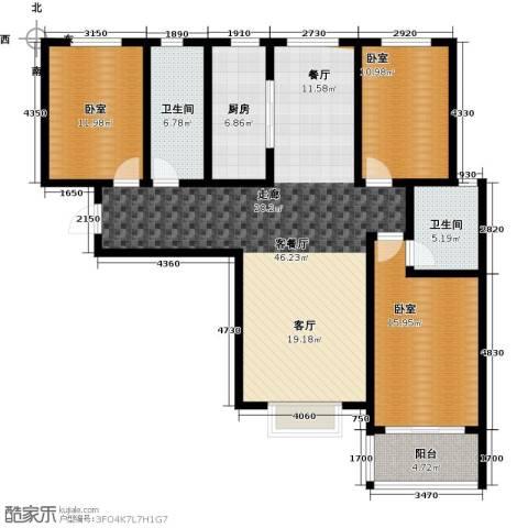 在水一方颂荷3室2厅2卫0厨156.00㎡户型图
