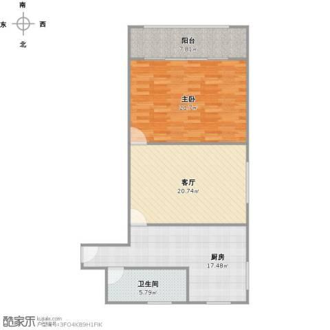 虹古小区1室1厅1卫1厨98.00㎡户型图