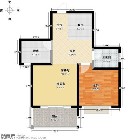 凯旋新城・嘉苑1室2厅1卫0厨76.00㎡户型图