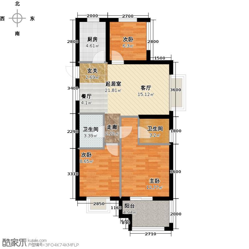 广宇锦绣桃源90.00㎡C1户型3室2厅2卫