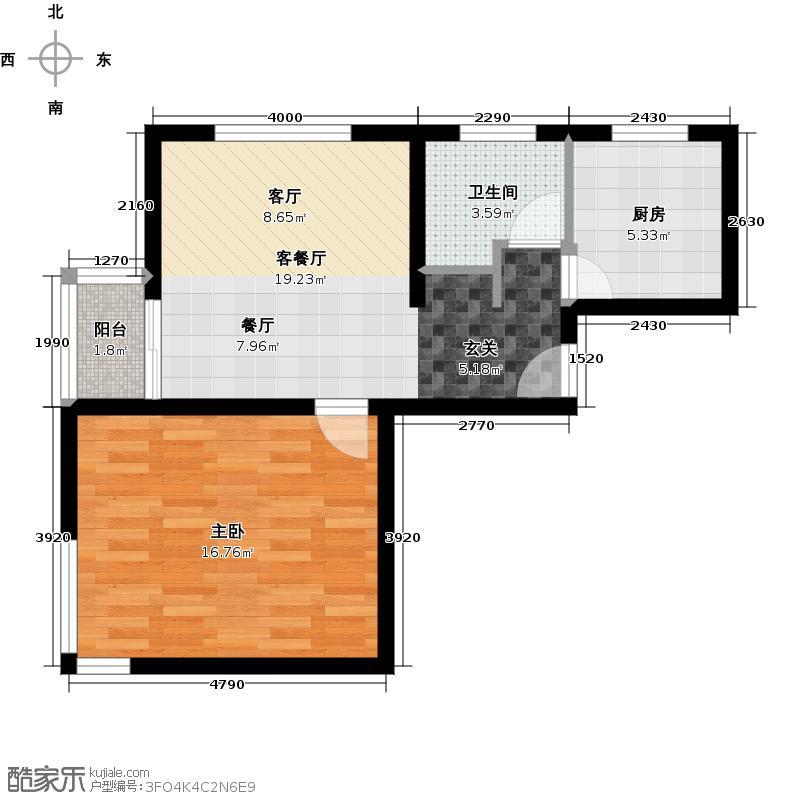 博澳丽苑66.02㎡9#楼E户型1室1厅1卫1厨