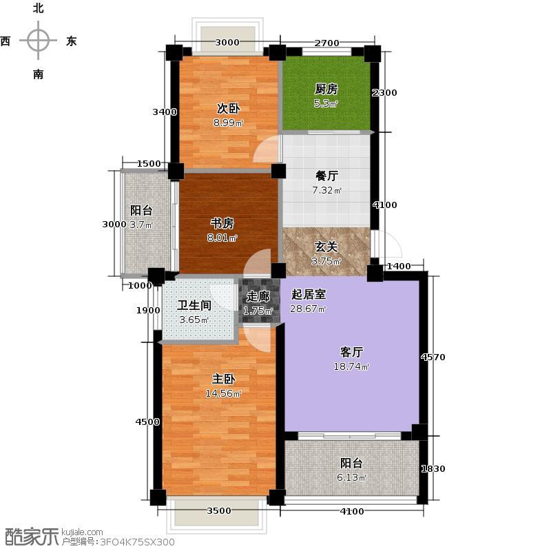 峰景湾95.17㎡多层B户型3室2厅1卫