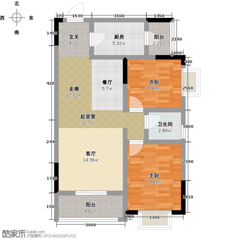 翰林世家88.40㎡2#楼A4户型2室2厅1卫