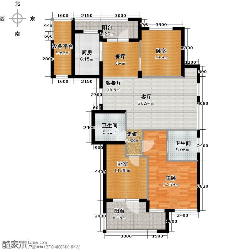 绿城御园141.00㎡高层F1户型3室2厅2卫