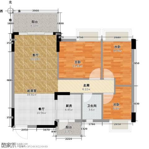 格兰名筑3室0厅1卫1厨95.00㎡户型图