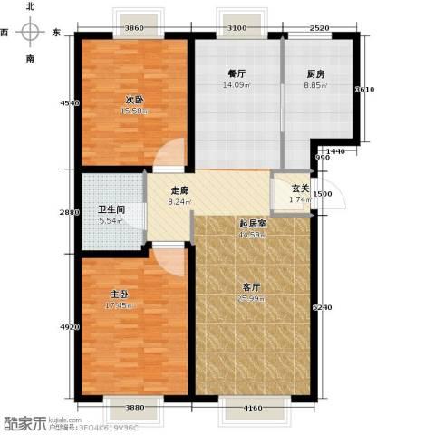 游龙逸海庭院2室0厅1卫1厨104.00㎡户型图
